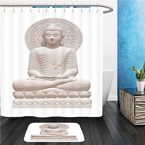 Beshowereb Bath Suit: ShowerCurtian & Doormat buddha statue close up isolated against white background 387372235