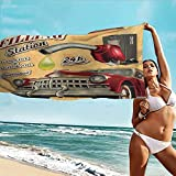 TT.HOME Beach Chair Towel,Cars Filling Station Gasoline and Oil Drawing with a Realistic Car Design Art Print,Bath Towel for Bathroom,W40x20L, Sand Brown Red
