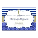 30 Invitations Golf Birthday Party Blue Gold Personalized Cards + 30...