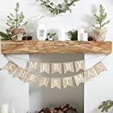 Ginger Ray Merry Christmas Burlap Hessian Bunting Decoration Banner - Rustic Christmas