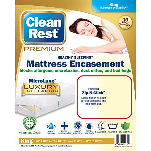 Clean Rest Premium Water-Resistant, Allergy and Bed Bug Blocking Mattress Encasement, King ()