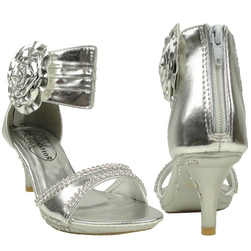 Kids Dress Sandals Flower Rosette Rhinestone Adjustable Ankle Strap Silver Size 1