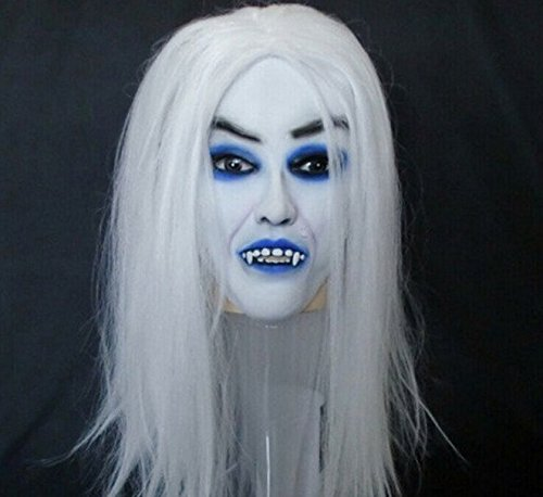 Halloween Festival Party Show Celebration Prop Bar Decoration Cos Cosplay Ghost Sadako Grudge Vampire Bride with White Hair Wig Mask Masquerade (Grudge Wig)