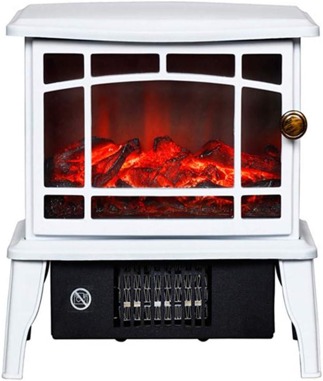 Mini calentador de chimenea eléctrico antiguo, Estufa de chimenea independiente con efecto de llama de baile realista, Termostato, Protección contra sobrecalentamiento de seguridad, 1500W,Blanco