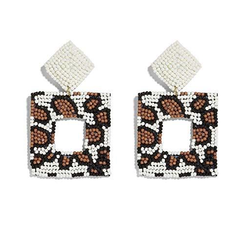 (Beaded Drop Earrings Handmade Seed Bead Square Hoop Drop Earrings Bohemia Statement Layered Earring Studs For Women Girls (Leopard))