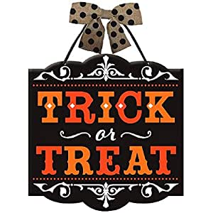 """New Age Scare Halloween Party Trick or Treat Hanging Sign Decoration, Board, 12"""" x 11"""""""