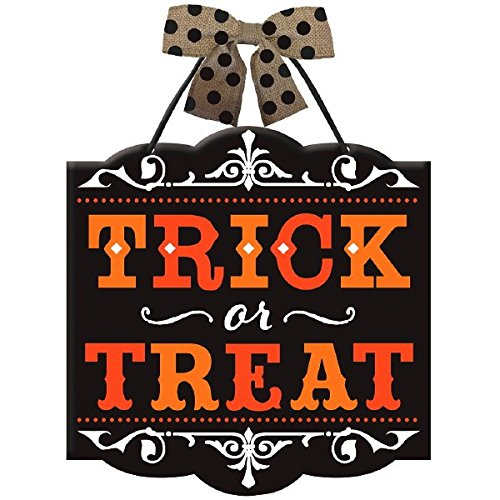 Indoor Halloween Decorations - New Age Scare Halloween Party Trick or Treat Hanging Sign Decoration, Board, 12