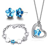 Mondaynoon Austrian Crystal Jewelry Sets Necklace ,Bracelets,Earring (Romantic Cherry) (Sea Blue)