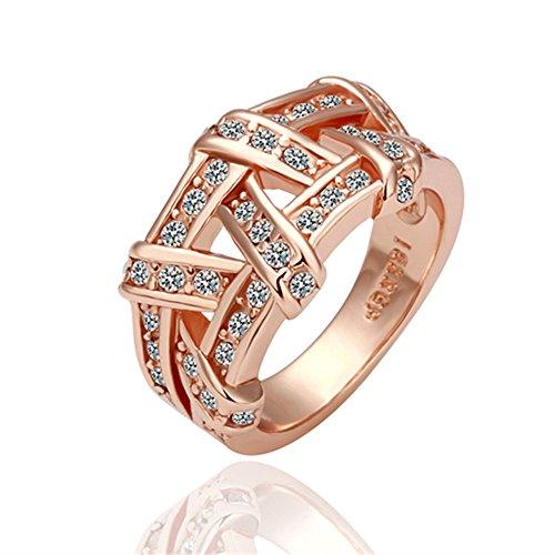 Hitaocity 18k Rose Gold Plated Rhinestone Simulated Weaves Wedding Engagement Promise Rings