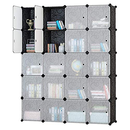 (Honey Home Modular Plastic Storage Cube Closet Organizers, Portable DIY Wardrobes Cabinet Shelving with Doors for Bedroom/Office - 20 Cubes Black & White)