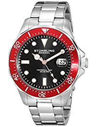 Stuhrling Original Men's 824.05 Aquadiver Quartz Date Red Bezel Stainless Steel Bracelet Watch