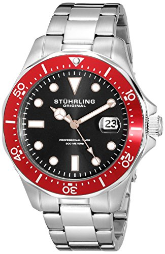 Amazon Lightning Deal 66% claimed: Stuhrling Original Men's 824.05 Aquadiver Quartz Date Red Bezel Stainless Steel Bracelet Watch