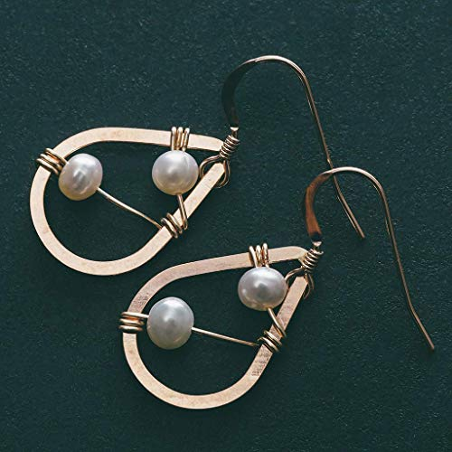 Rose Gold Cultured Freshwater Pearl Dangle Earrings Jewelry Gift for Women