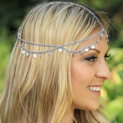 Ikevan Fashion Chain Jewelry Chain Headband Head shiny Piece Hair Band Tassels (Head Silver Bangles)