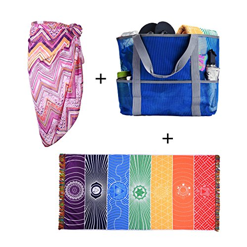 Price comparison product image CHIC DIARY Mesh Beach Bag Travel Toy Tote Bag Grocery Shopping Storage Bag (Purple Pareo+Blue Beach Bag+Rainbow Beach Towel)