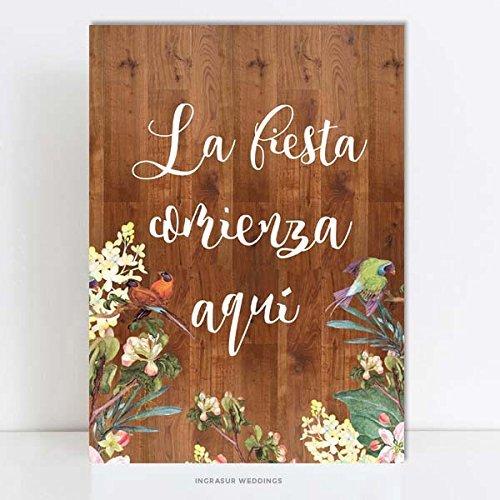 Cartel madera La Fiesta Comienza Aquí, 60x40cm. - Laminas ...