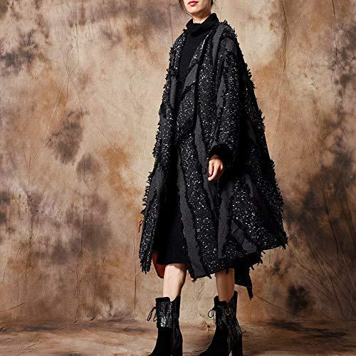 D'hiver Poncho Fourrure Manteau Liulife Au Du Fausse Coupe Cap Femmes Black Design Irrégulier vent Pour Chaud En Cape 6gqBxft