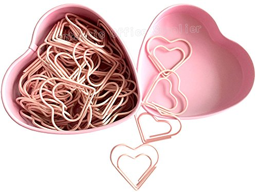 52 PCS Heart Shape Nonskid Paper Clips,Color Decorative Paper Clips,Creative Office Item