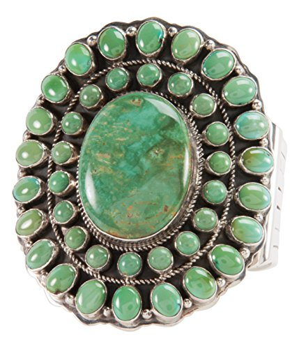 Kingman Turquoise Bracelet (Navajo Native American Green Kingman Turquoise Bracelet by Leonard)