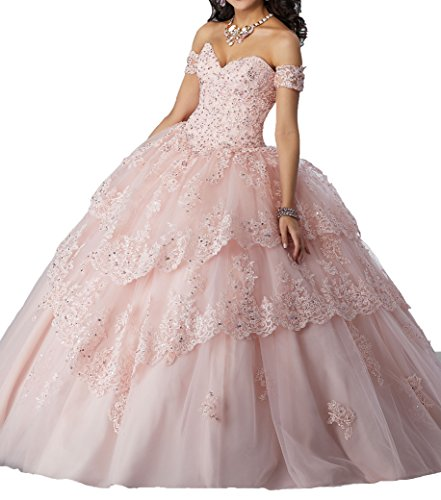 Gown New Quinceanera (MFandy New Sweetheart Girls 16 Quinceanera Dress Appliques Beaded Ball Gowns 0 US Light Pink)