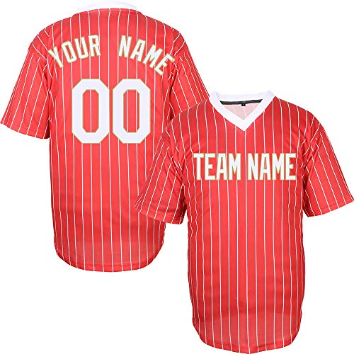 Red V-Neck Customized Baseball Jersey for Women Pinstriped Mesh Stitched Name & Numbers,Red-White-Gold Size S