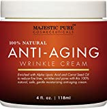 Majestic Pure Anti Aging Night Cream for Woman and Men, 100% Natural, Safe and Gentle Cream Reduces the Appearance of Wrinkles, 4 fl oz