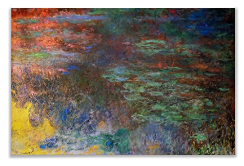 Monet Wall Art Collection Water Lily Pond, Evening (Right Panel), 1920 by Claude Monet Canvas Prints Wrapped Gallery Wall Art | Stretched and Framed Ready to Hang 24X32, - Lily Pond Collection