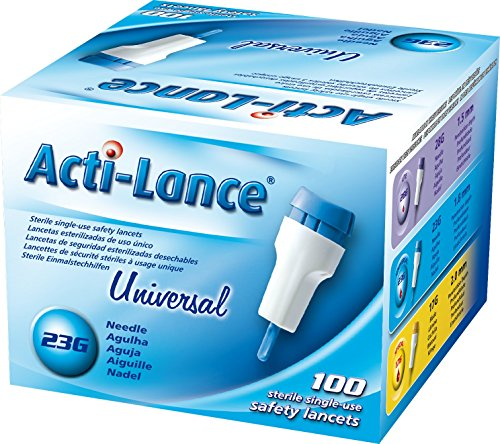 Acti-Lance 7156 23 g x 1.8 mm Depth, Button Activated Safety Lancet, Universal, Blue (Pack of 100)