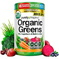 Purely Inspired Organic Greens, USDA Organic, Super Greens Powder, Unflavored, 8.57 oz, 24 servings