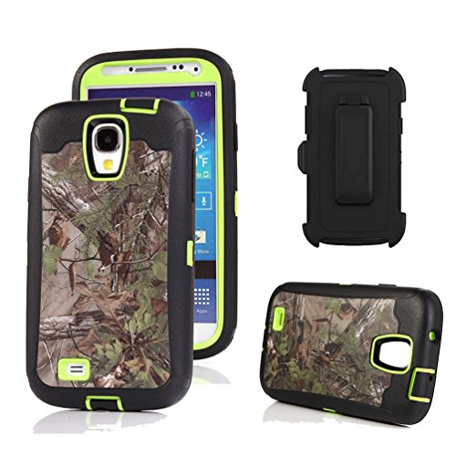 Galaxy S4 Case, Harsel Defender Series Heavy Duty Camo Tough Rugged Armor Hybrid Protective Military with Belt Clip Built-in Screen Protector Case Cover for Galaxy S4 (Forest/Green)