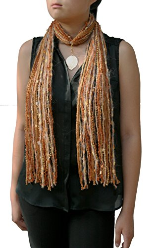 Gold Brown Fringe Scarf Necklace with Detachable Gold Leaf Pendant (Gold Mohair)