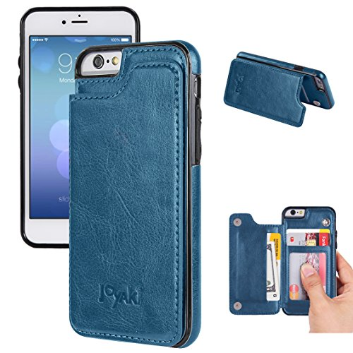 iPhone 6/6s Wallet Case-JOYAKI PU leather card Case -Slim fit Executive Wallet Card Case - Ultra Slim Protective iPhone Case (Steelblue)