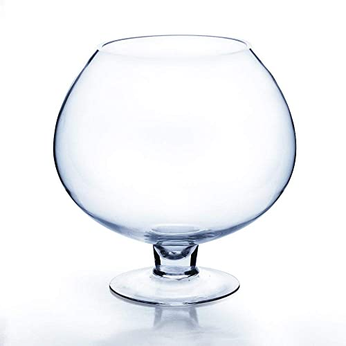 WGV Clear Brandy Wine Shaped Bubble Bowl Glass Vase on Stand, 9-Inch