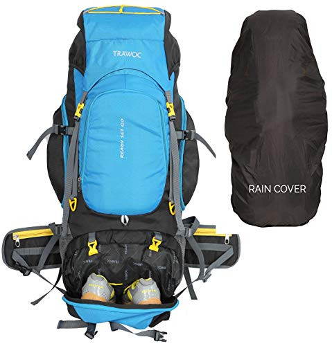 TRAWOC 75 Liter Travel Backpack for Outdoor Sport Camping Hiking Trekking Bag Rucksack, Sky Blue