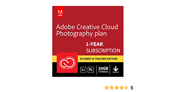 Amazon Com Adobe Creative Cloud Photography Plan Photoshop Cc Lightroom Student And Teacher Download Validation Required Software