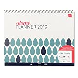 Boxclever Press 2019 Home Planner Calendar. Month-to-View Family Organiser with Large Spaces for Each Day. Starts straightaway and Runs Until December '19. Great for Home Organisation