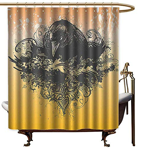 StarsART Shower Curtains Tumblr Black Decor,Halloween Theme Vector Illustration of a Wicked Crow and Flowers Print,Black and Mustard,W69 x L90,Shower Curtain for Girls]()