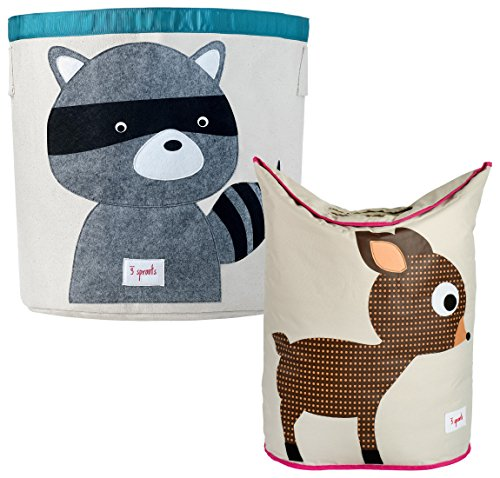 3 Sprouts Storage Bin and Laundry Hamper, Raccoon/Deer
