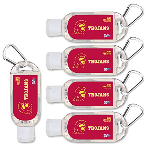 (NCAA Southern Cal (USC) Trojans Hand Sanitizer with Clip, 5-Pack. Moisturizers Aloe Vera and Vitamin E. (1.5 oz Containers) NCAA Gifts for Men and Women, Christmas Stocking)