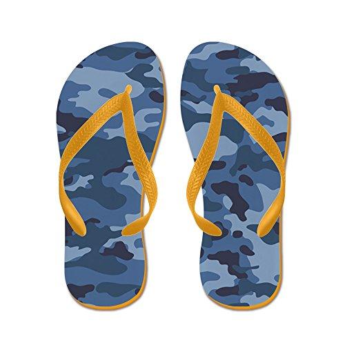 CafePress Blue Camo Pattern - Flip Flops, Funny Thong Sandals, Beach Sandals Orange