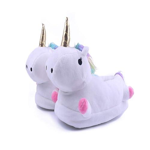 Licy Life-UK Zapatillas De Estar por Casa, Unicornio Felpa Suave Calentar Zapatillas Zapatos Mujer Hombre Niñas Niños Invierno Primavera Peluche: Amazon.es: ...