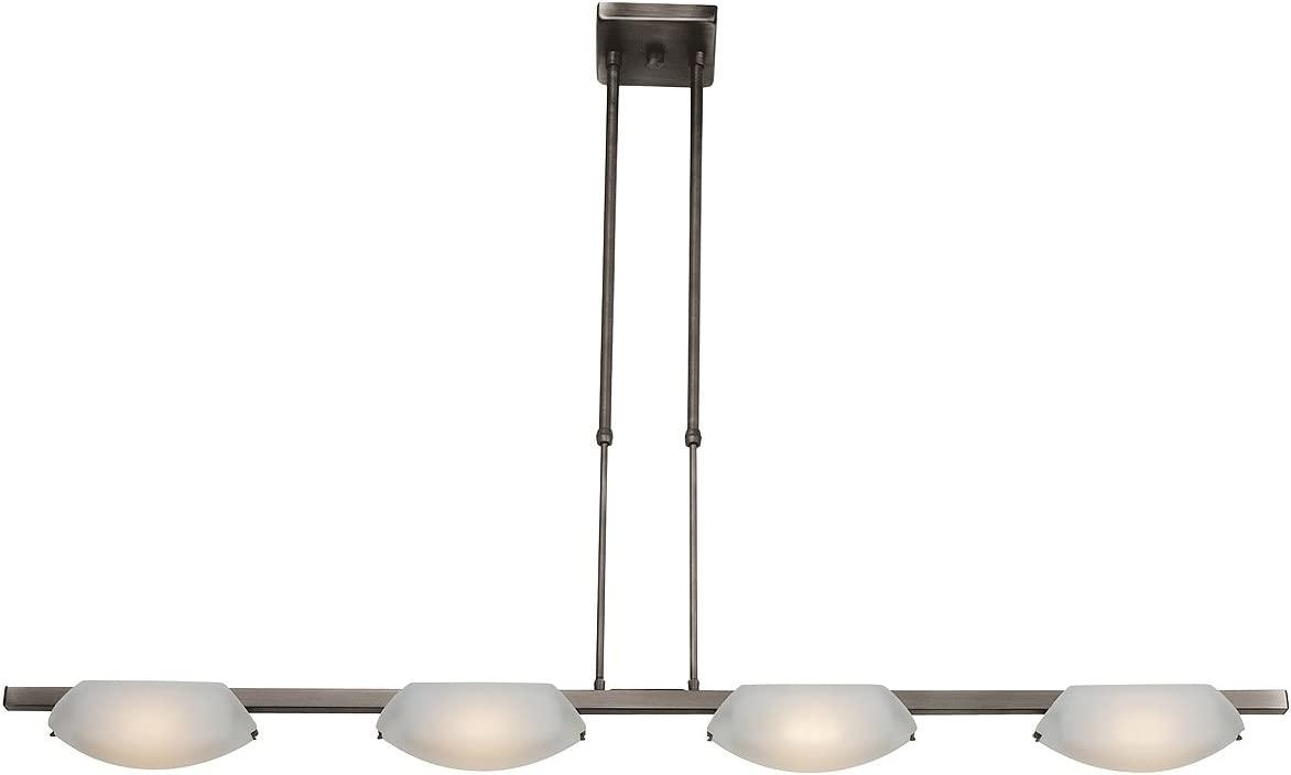 Nido – 4-Light Bar Pendant – Oil Rubbed Bronze Finish – Frosted Glass Shade