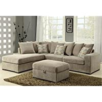 Coaster Olson Fabric Sectional in Coffee