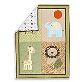 Dream On Me Safari Animals 5-Piece Reversible Portable Crib Set, Pastel