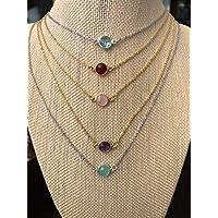 Personalized Mothers & Kids Birthstone Jewelry Custom Minimalist Birthstone Necklace for Women Customized Gold Family Birthstones Necklace Sisters gift for Birthday