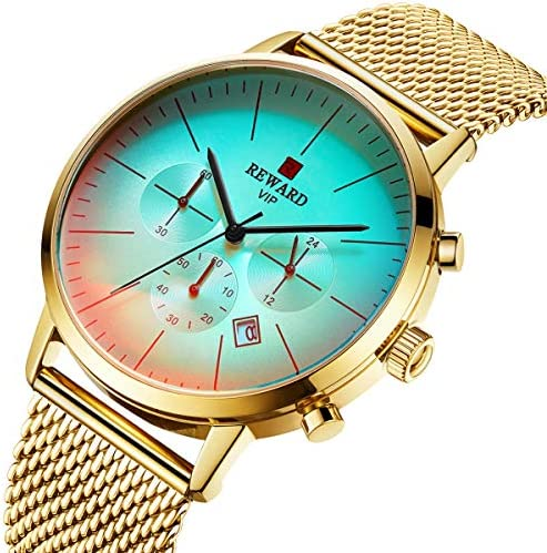 Affute Men s Stainless Steel Mesh Watch Fashion Chronograph Watches with Color Bright Glass, Auto Date, Waterproof Quartz Analog Wristwatch