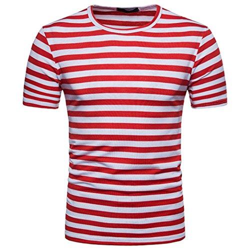 2ee23596c6ff0b Shubuy Mens Stripes T-Shirts Casual Slim Fit Tshirts Striped Tees Top (S,