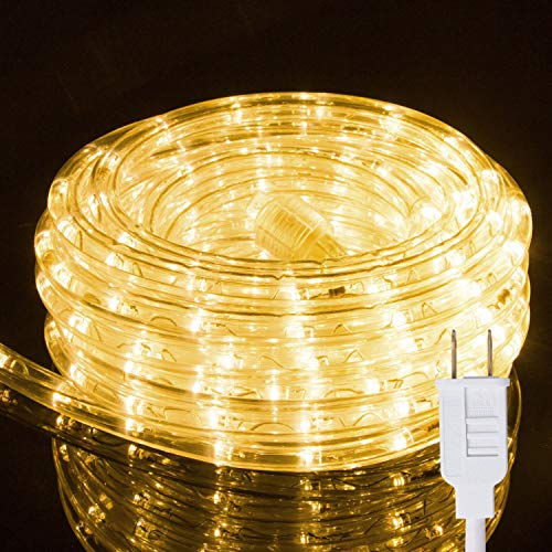 24Ft LED Rope String Lights Heavy Duty Waterproof Christmas Rope Lights Custom Cut Expandable 2 Wire 120V UL Listed Perfect for Indoor & Outdoor Roofline Garden Backyard Pathway Patio Tree Decoration