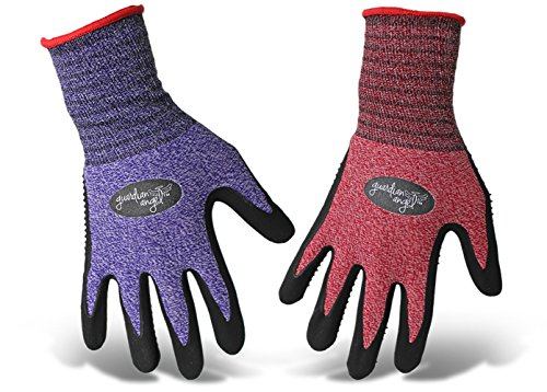 Angels Glove Garden - BOSS 8444M Guardian Angel Dotted Nitrile Palm Knit Wrist Glove Purple & Red Med 12ea, White