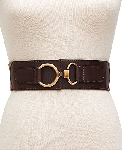 (Style & Co. Women's Herringbone Interlock Stretch Waist Belt Brown S/M)